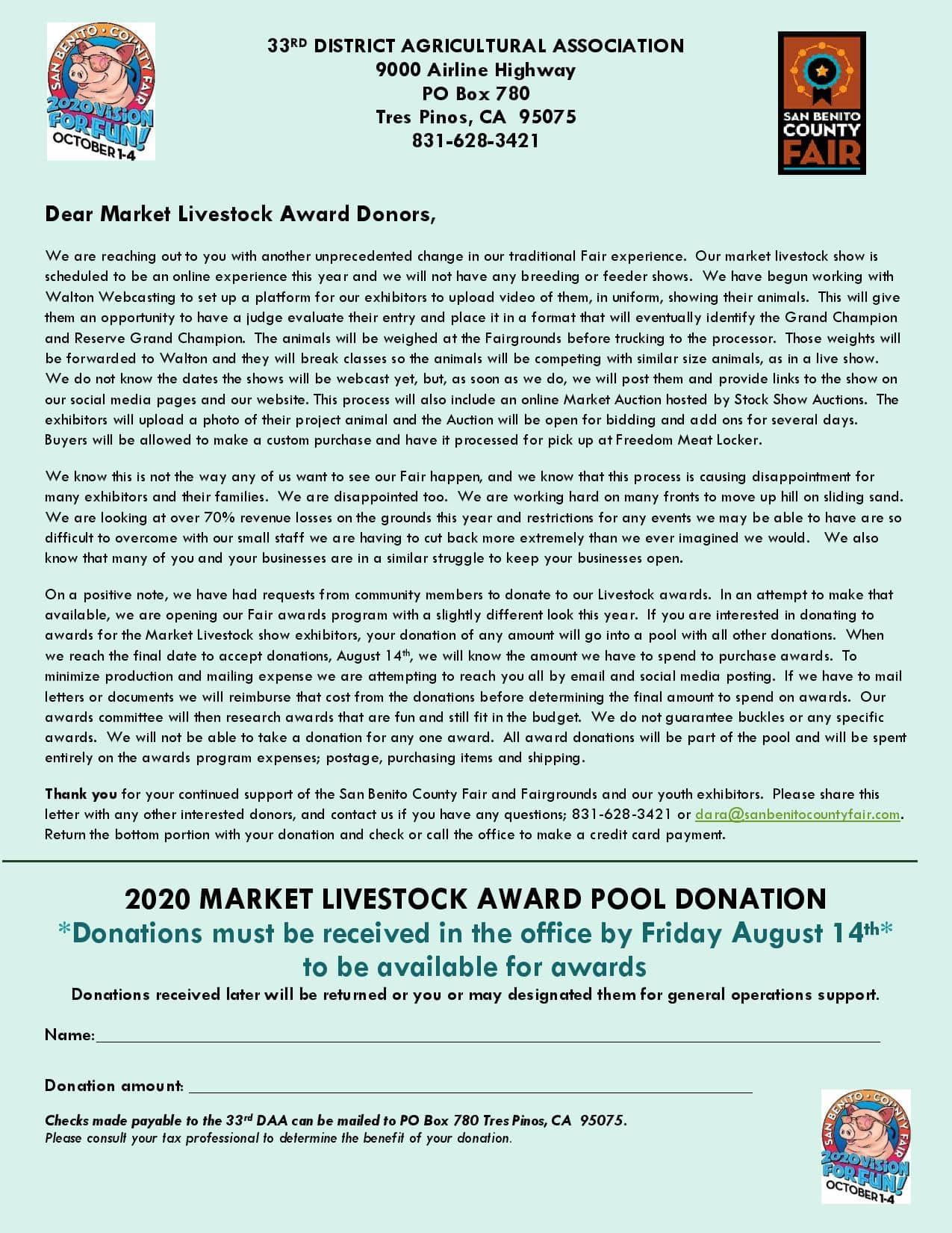 2020 Livestock Award Letter