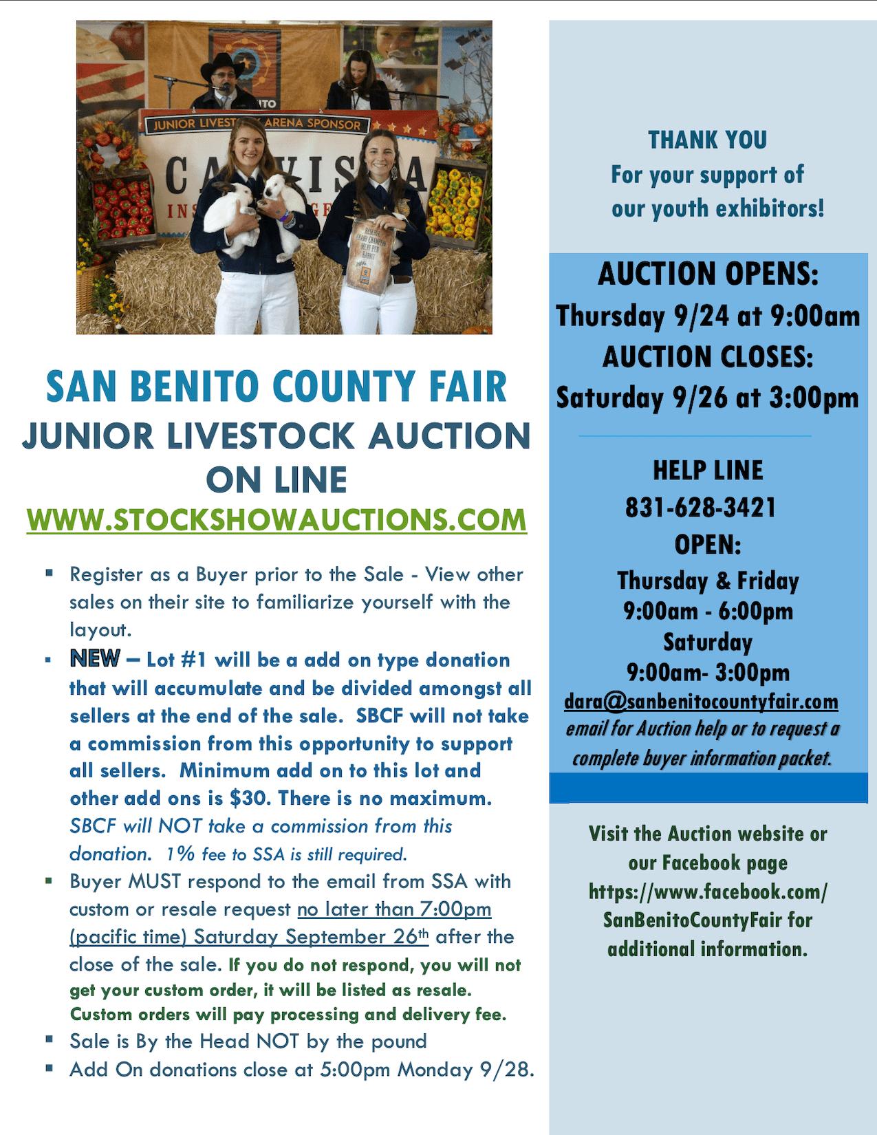Junior Auction Flyer 2020